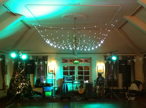 Paddy's Whiskers all set up for another Devon Wedding Ceilidh